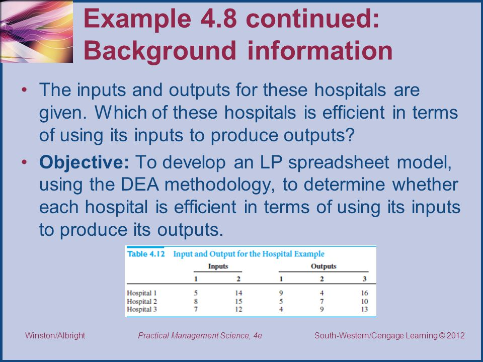 Example 4.8 continued: Background information