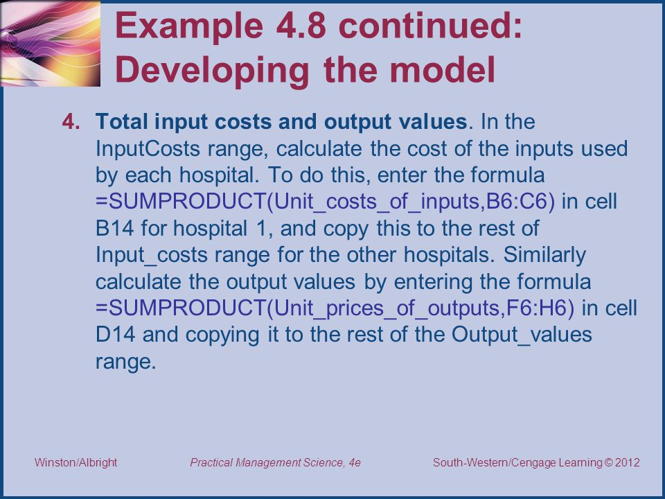 Example 4.8 continued: Developing the model