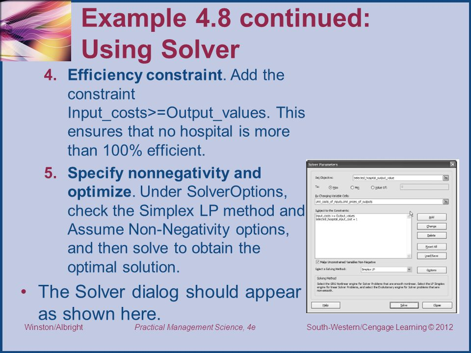 Example 4.8 continued: Using Solver