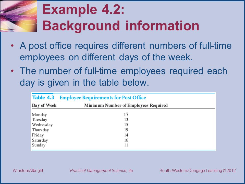 Example 4.2: Background information