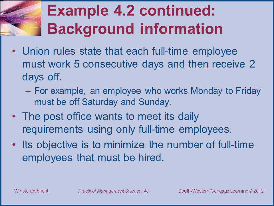 Example 4.2 continued: Background information