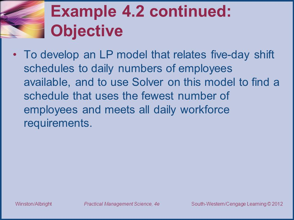 Example 4.2 continued: Objective
