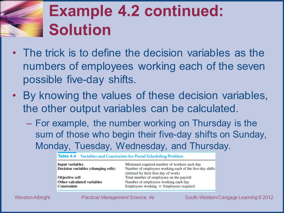 Example 4.2 continued: Solution