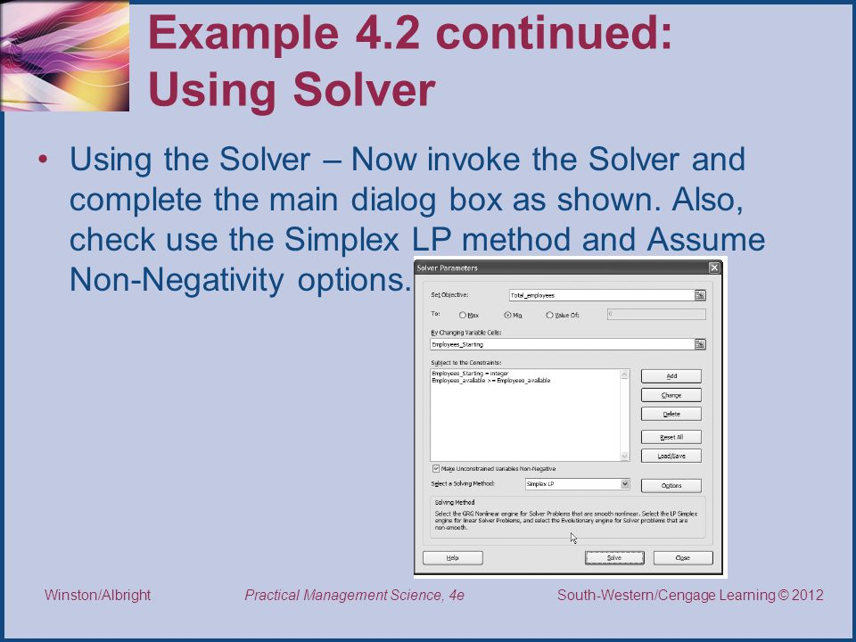 Example 4.2 continued: Using Solver