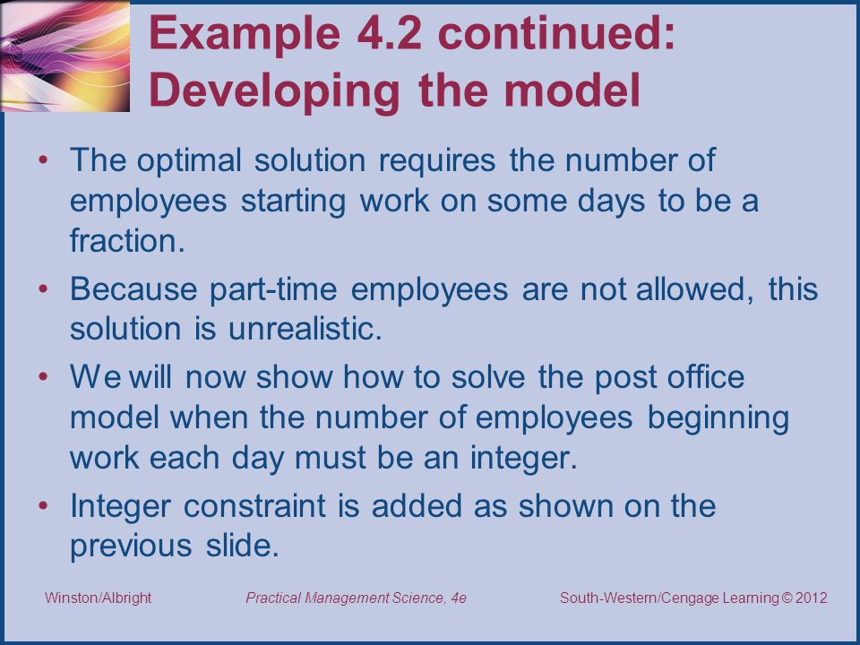 Example 4.2 continued: Developing the model