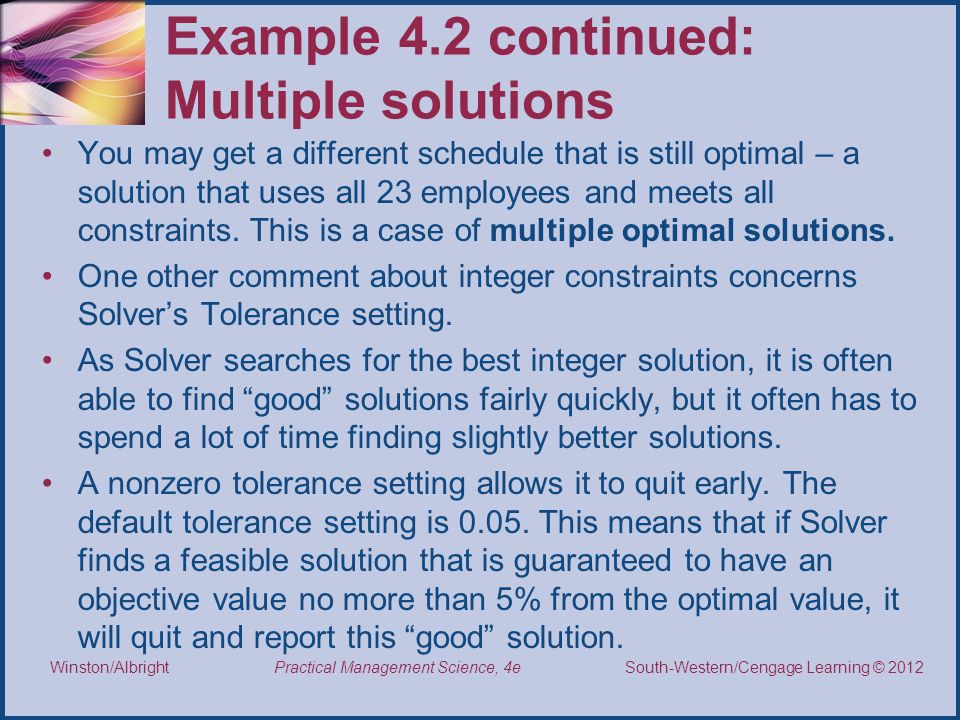 Example 4.2 continued: Multiple solutions