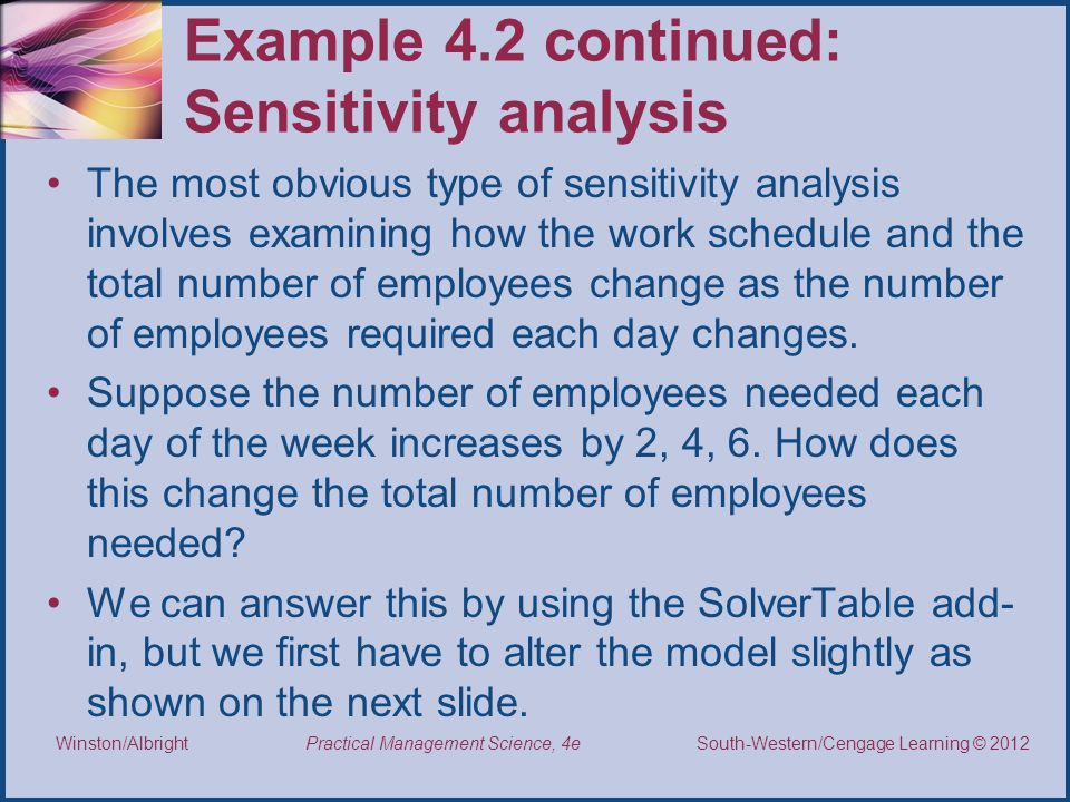 Example 4.2 continued: Sensitivity analysis