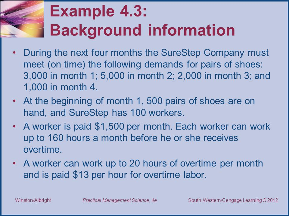 Example 4.3: Background information