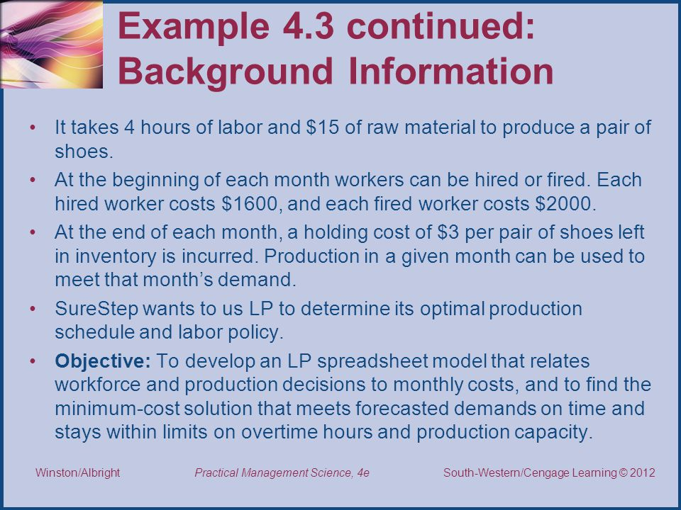 Example 4.3 continued: Background Information