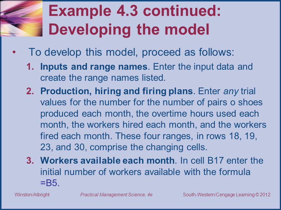 Example 4.3 continued: Developing the model