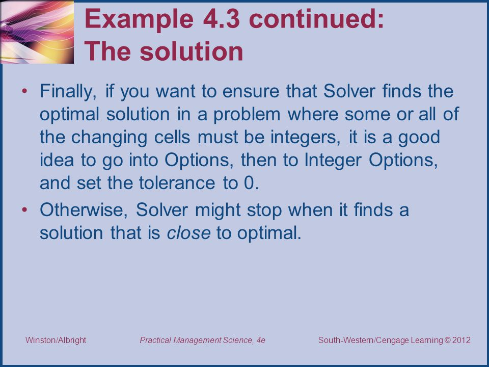 Example 4.3 continued: The solution