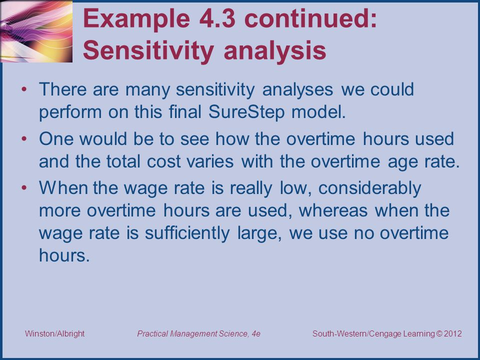 Example 4.3 continued: Sensitivity analysis
