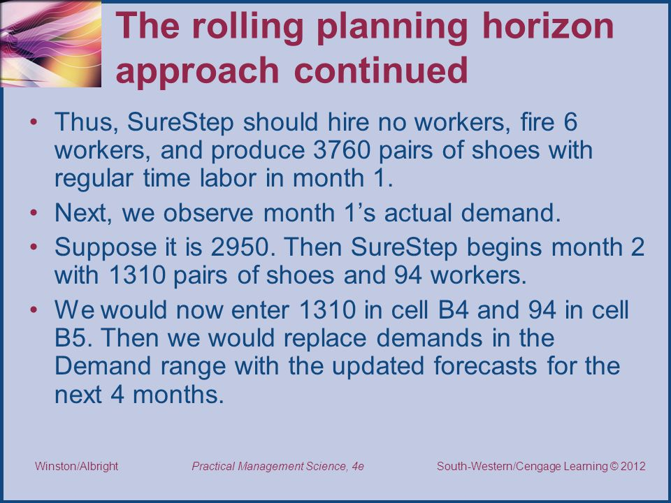 The rolling planning horizon approach continued