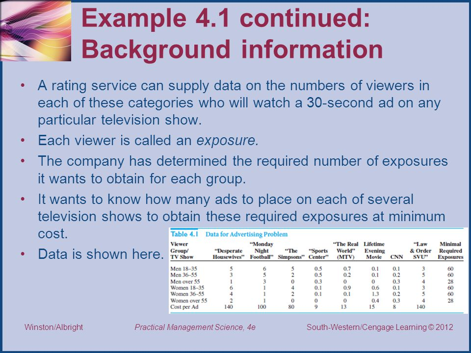 Example 4.1 continued: Background information