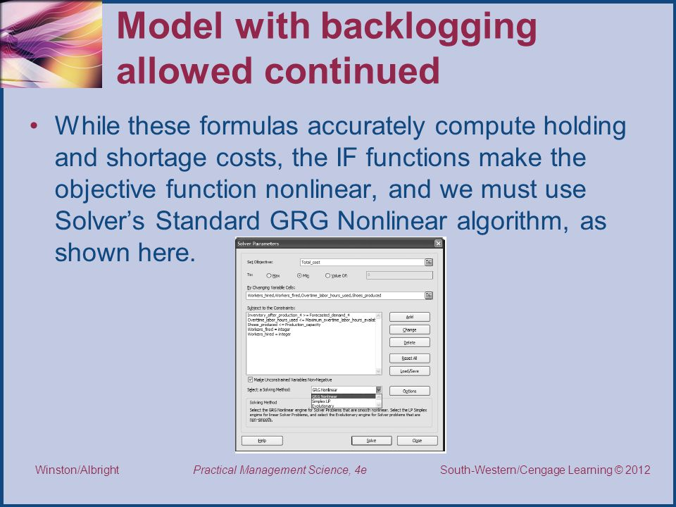 Model with backlogging allowed continued