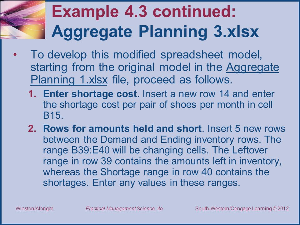Example 4.3 continued: Aggregate Planning 3.xlsx