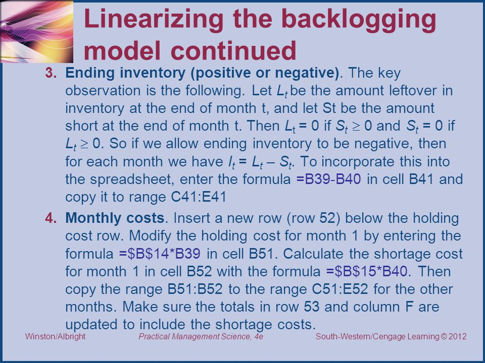 Linearizing the backlogging model continued