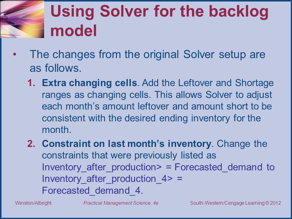 Using Solver for the backlog model