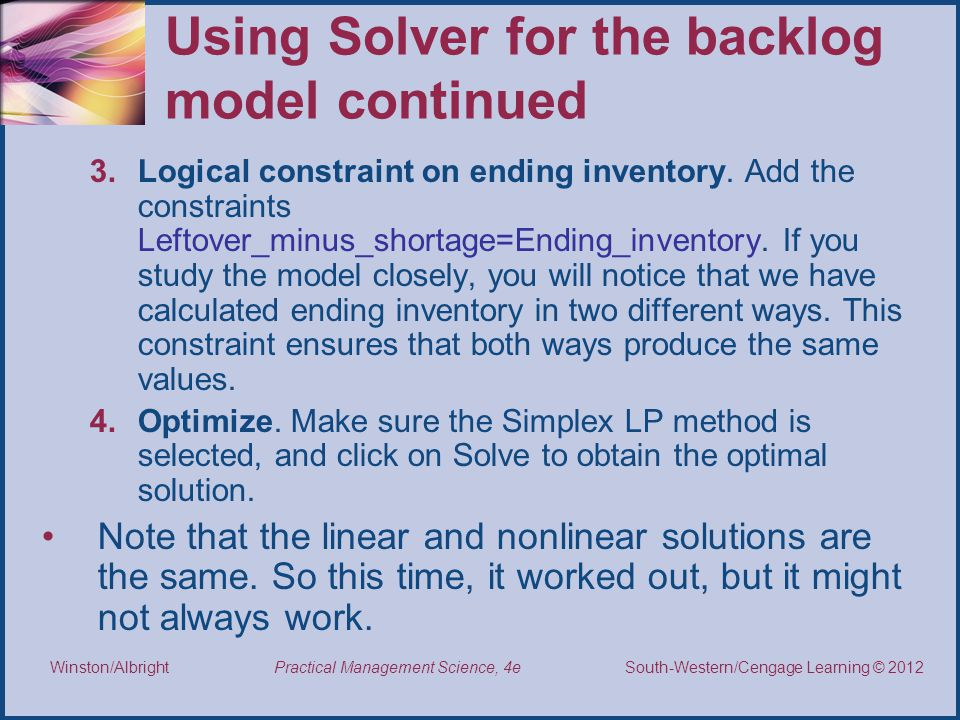 Using Solver for the backlog model continued