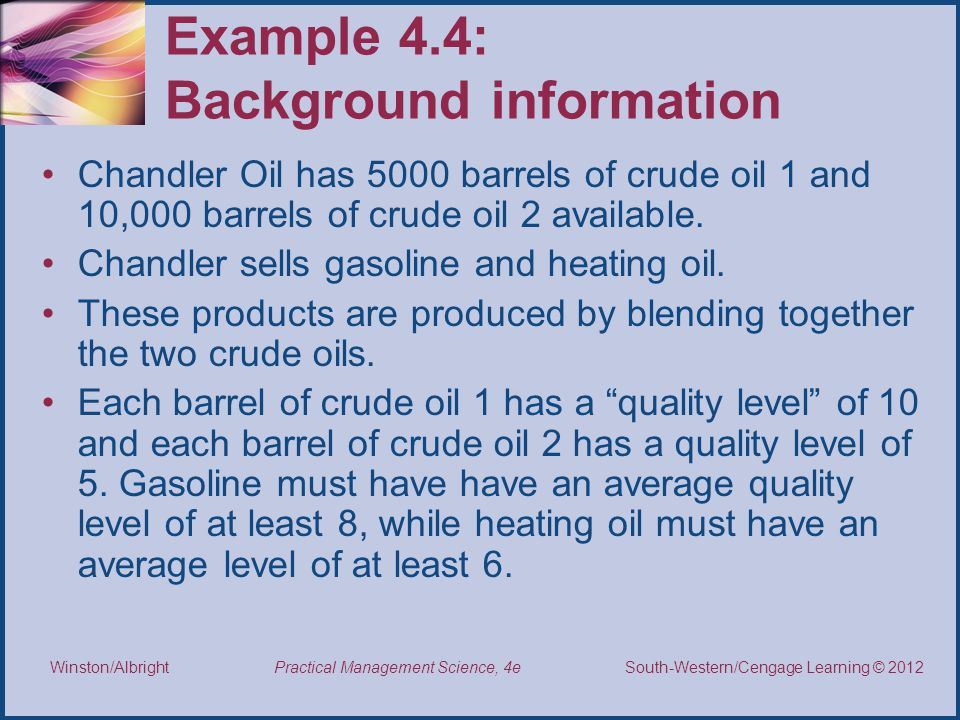 Example 4.4: Background information