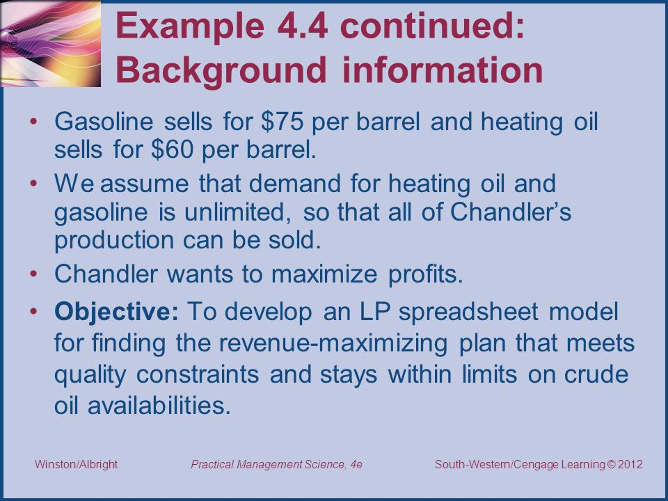 Example 4.4 continued: Background information