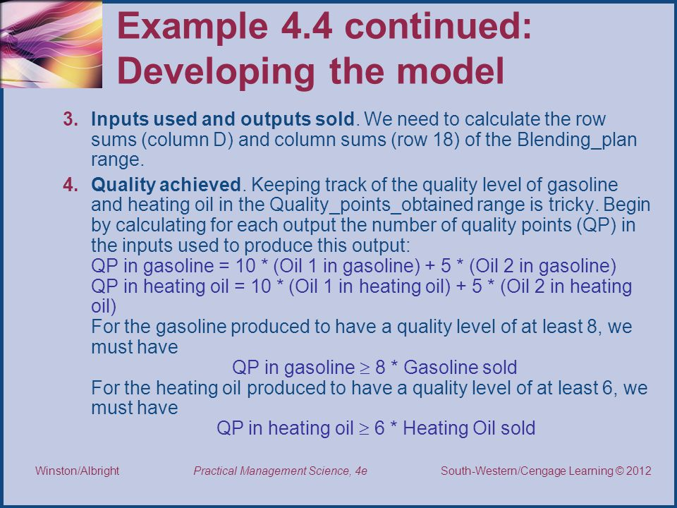 Example 4.4 continued: Developing the model