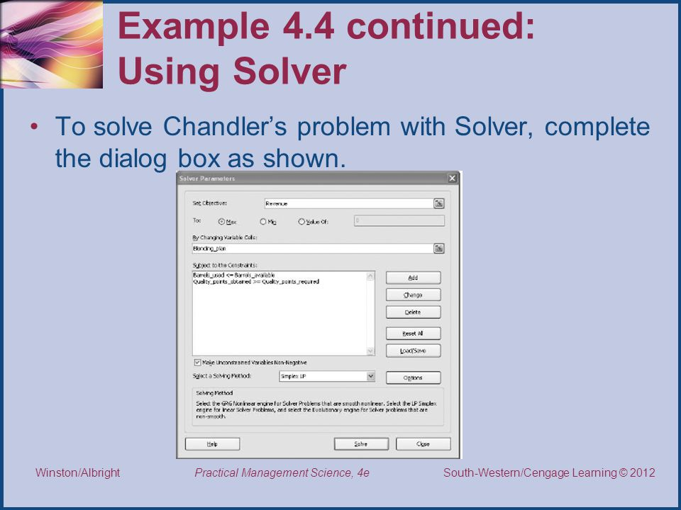 Example 4.4 continued: Using Solver