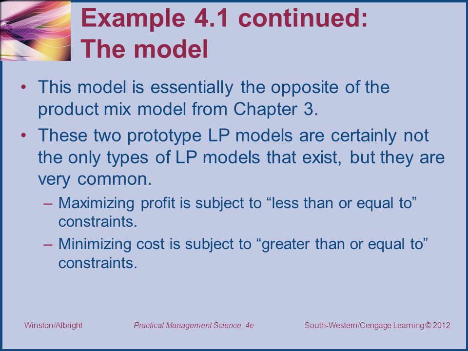 Example 4.1 continued: The model