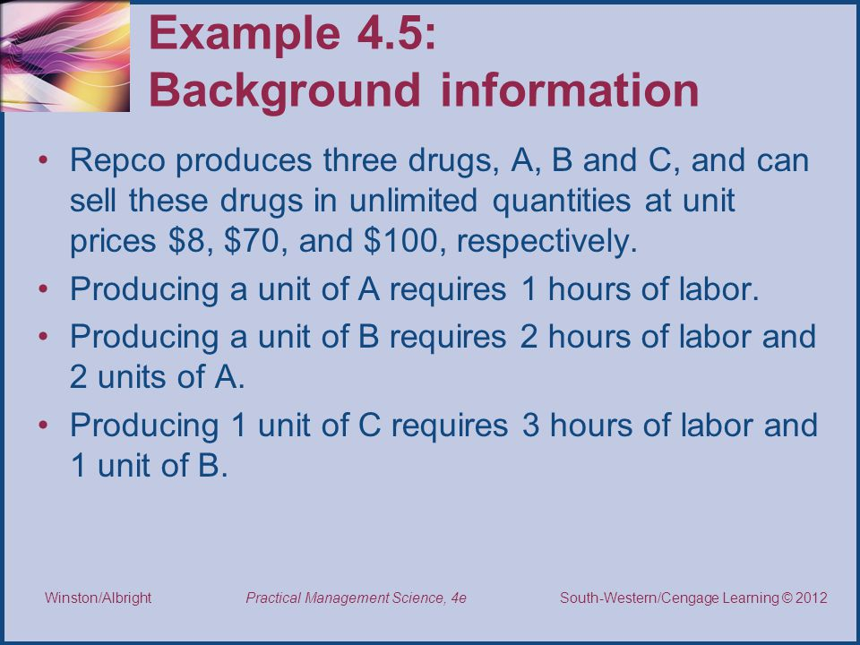 Example 4.5: Background information