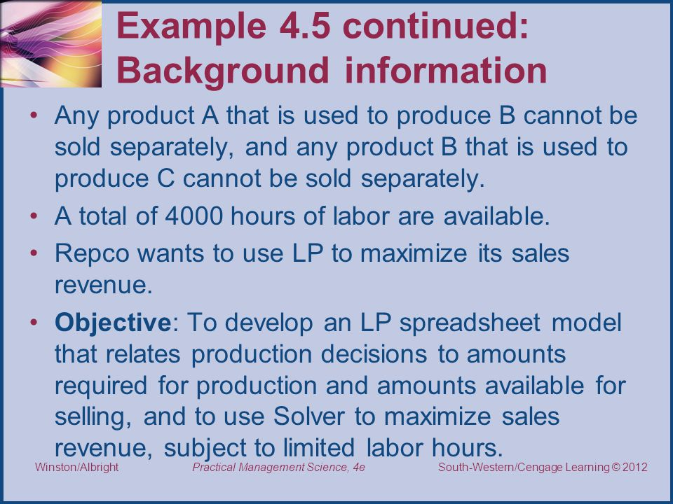 Example 4.5 continued: Background information