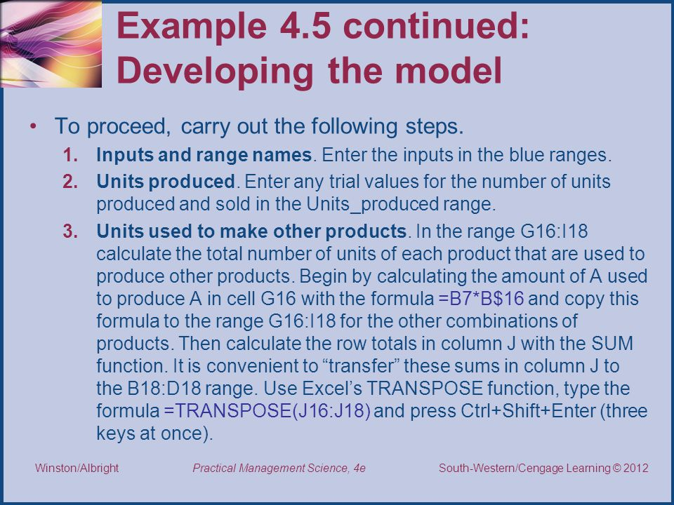 Example 4.5 continued: Developing the model