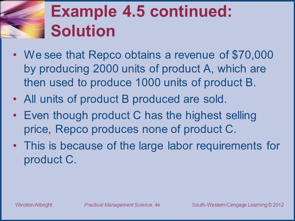 Example 4.5 continued: Solution