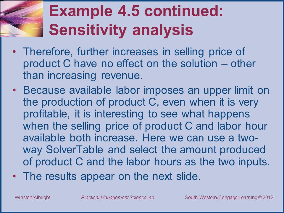 Example 4.5 continued: Sensitivity analysis