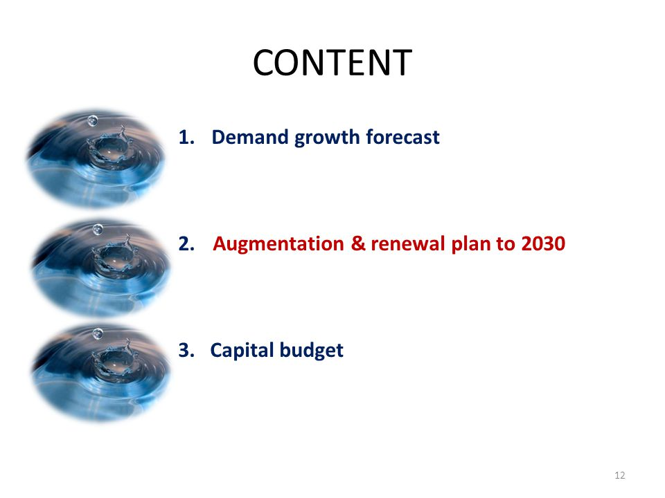 CONTENT Demand growth forecast 2. Augmentation & renewal plan to 2030