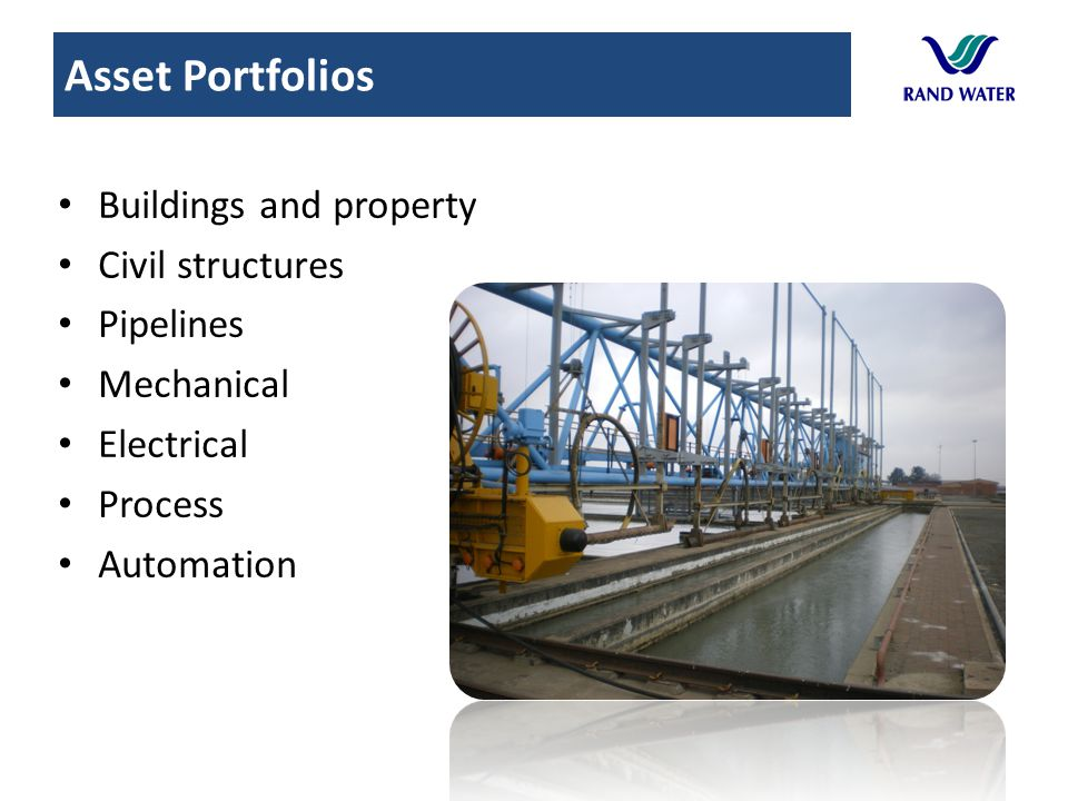 Asset Portfolios Buildings and property Civil structures Pipelines
