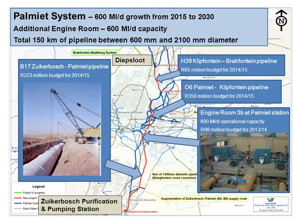 Palmiet System – 600 Ml/d growth from 2015 to 2030