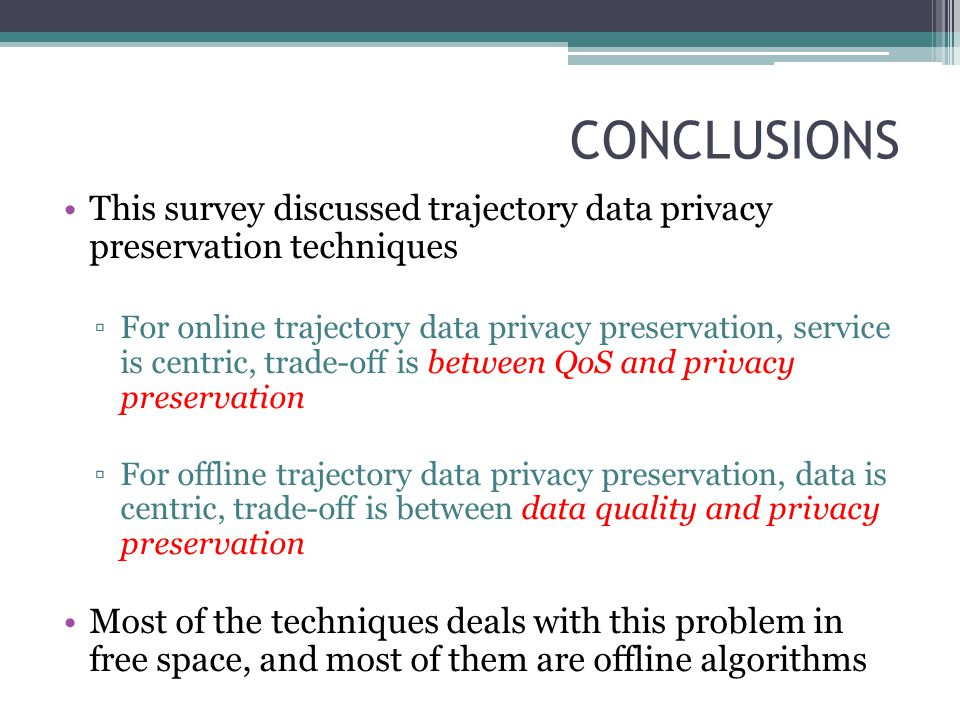 CONCLUSIONS This survey discussed trajectory data privacy preservation techniques.