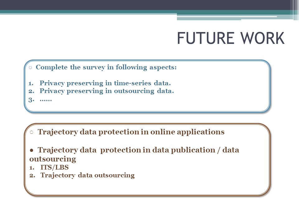FUTURE WORK ○ Trajectory data protection in online applications