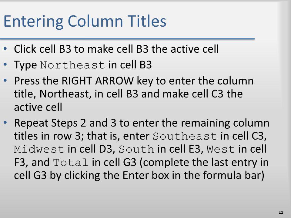 Entering Column Titles