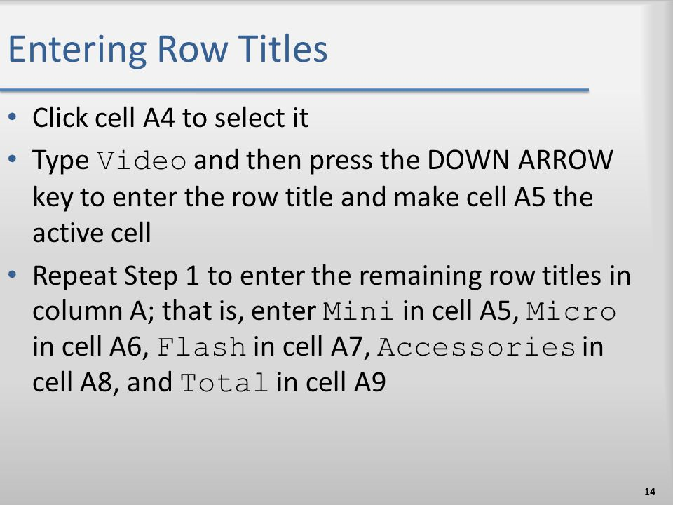 Entering Row Titles Click cell A4 to select it