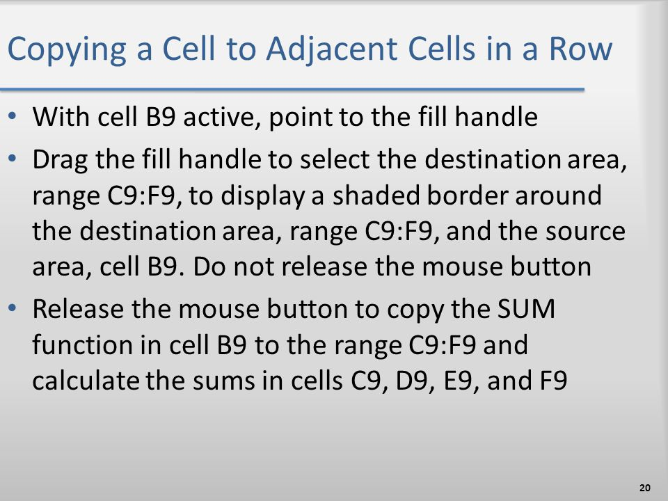 Copying a Cell to Adjacent Cells in a Row