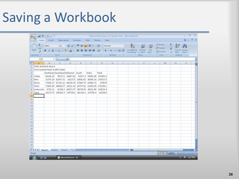 Saving a Workbook