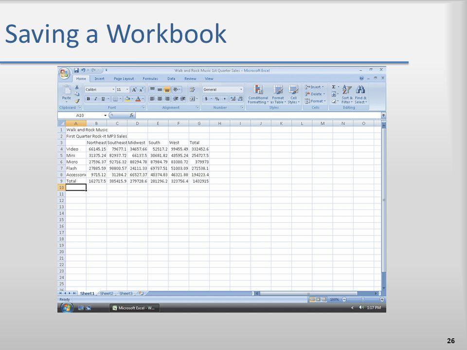 Saving a Workbook