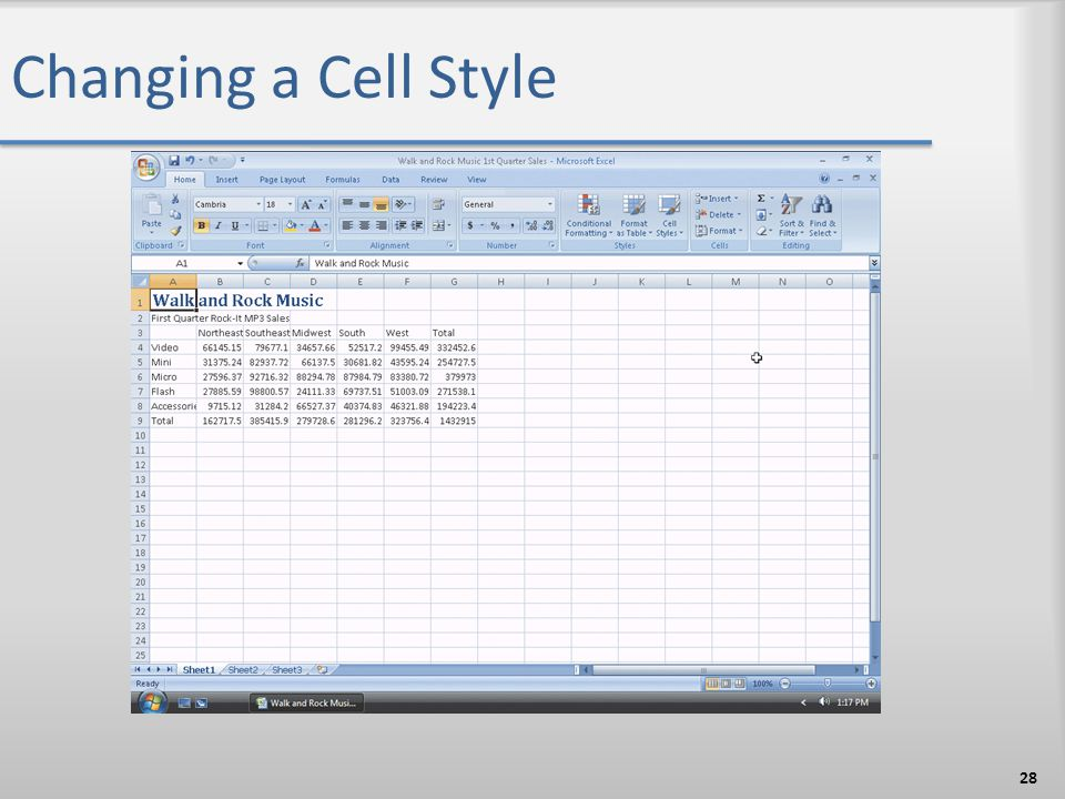 Changing a Cell Style