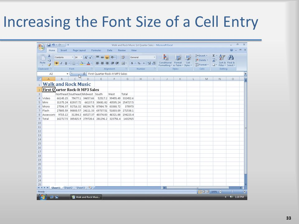 Increasing the Font Size of a Cell Entry