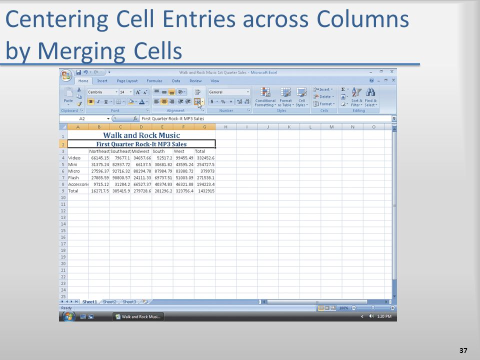 Centering Cell Entries across Columns by Merging Cells