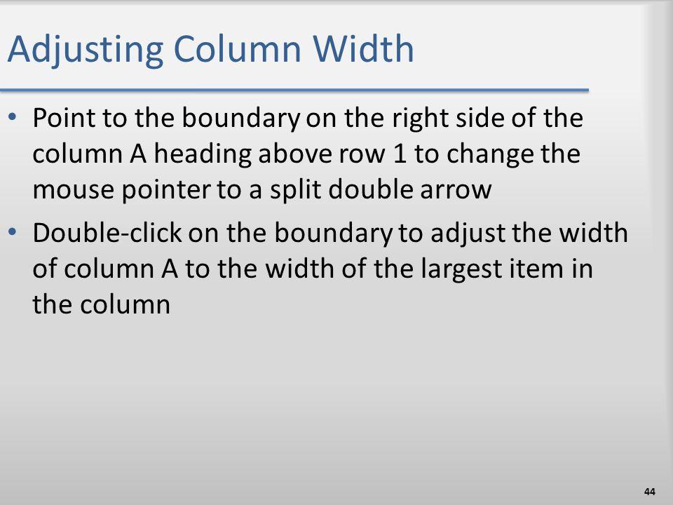 Adjusting Column Width
