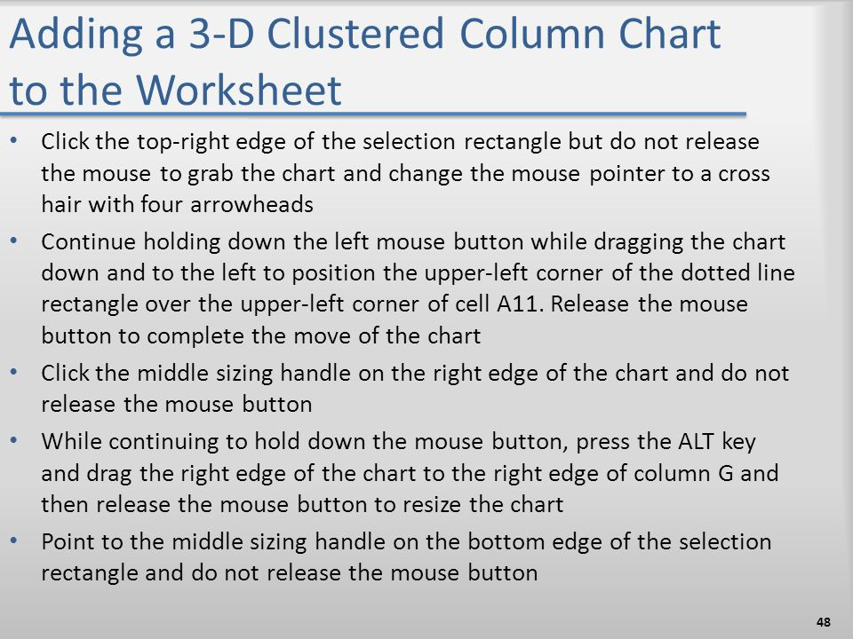 Adding a 3-D Clustered Column Chart to the Worksheet