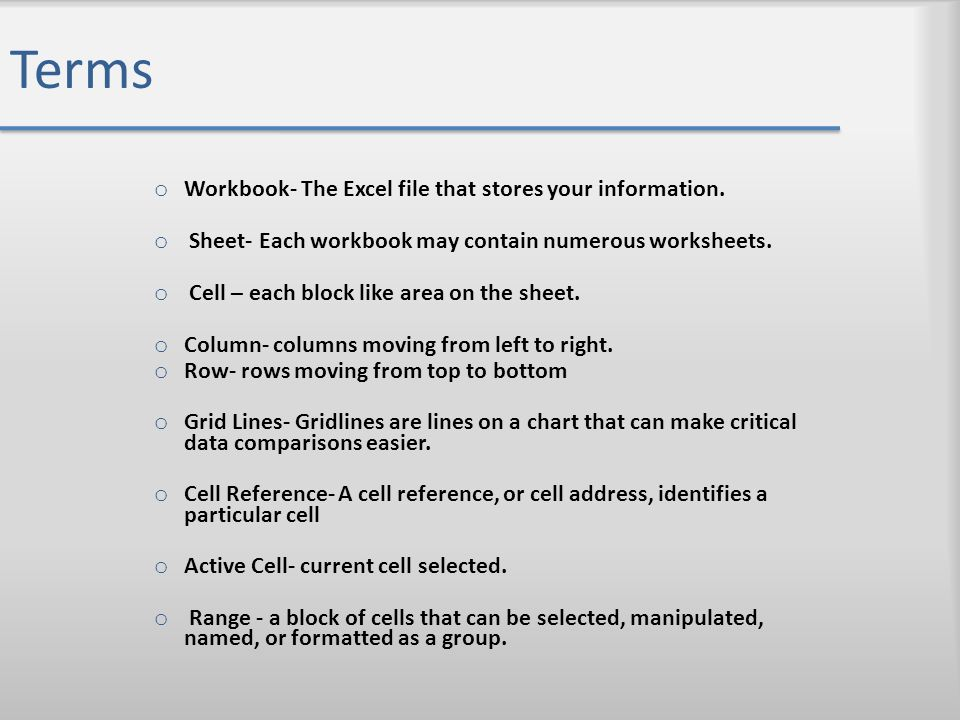 Terms Workbook- The Excel file that stores your information.