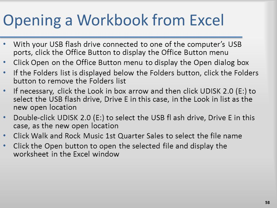Opening a Workbook from Excel